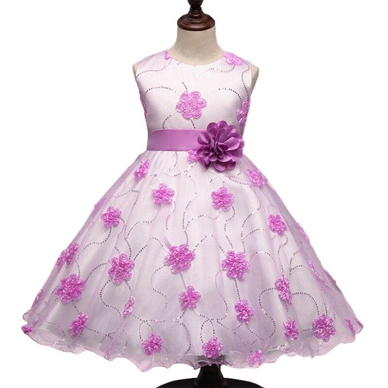 Baby Girls Dress Birthday Wedding Party Ball Gown Princess Dresses 2017 New Flower Sleeveless Tutu Dress Pink Purple 3-9Y GD49<br><br>Aliexpress