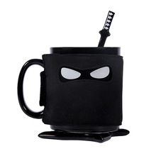 Awkward masked pirate cup/ninja mug funny creative coffee cup birthday gift heat-resistant ceramic cup+coasters+spoon