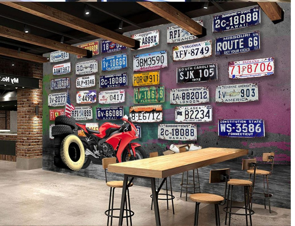 wall mural photo wallpaper Retro motorcycle license plate KTV photo wallpaper for walls classic wallpaper for walls<br><br>Aliexpress