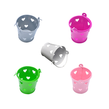 5pcs/Lot Mini Hollow Heart Iron Bucket Candy Container for Wedding Birthday Party DIY Favors Package for Mini Flower Baskets P15(China)