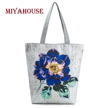 Miyahouse Vintage Floral Design Beach Bags For Women Canvas Tote Bag Fashion Female Single Shoulder Shopping Bags Flower Handbag