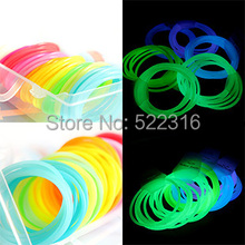 2015 hot glow in the dark neon candy luminous 10 mix colors silicone rubber bracelet wristband sport DIY hand ring hair band