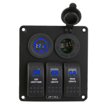 Rocker Switch Panel Circuit Breakers Color Display Voltmeter Waterproof Car Auto Automotive Boat Marine For Caravan Blue LED