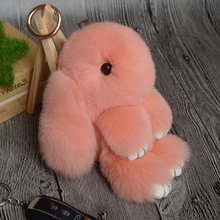 2017 Hot Mini 13CM Rabbit Keychain Fur Pom Pom Bunny Key Chain Women Toy Doll Bag Car Key Ring Monster Trinket Rabbit