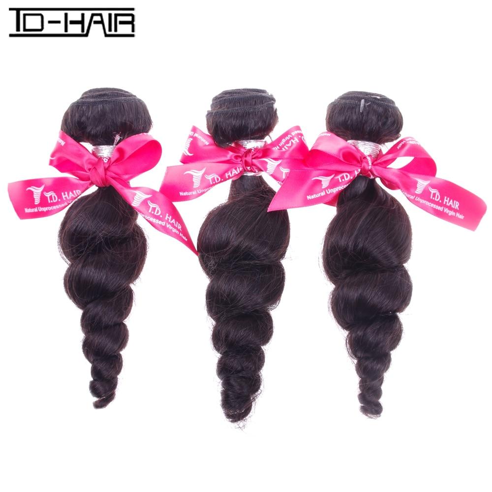 8A Brazilian Virgin Hair Loose Wave 3pcs/lot human Hair Weaves Bundles remy hair extension Brazilian Loose Wave TD Hair products<br><br>Aliexpress
