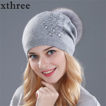 Xthree women's winter hat Rabbit fur wool knitted hat Shining Rhinestone the female of the mink hats for women beanies(China)