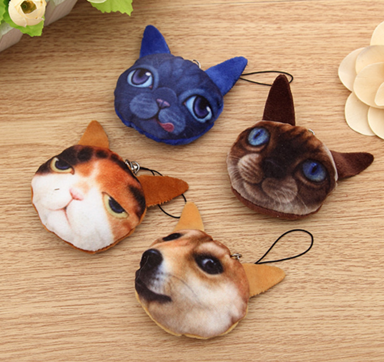 HOT NEW 3D Cats 1X Random Design , 5CM Stuffed Cats Plush Doll Toy , String Rope Gift Plush Toy , bouquet wedding gift toy(China)