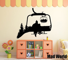 Mad World-Snowboard Winter Sport Ski Lift Sports Wall Art Stickers Wall Decal Home DIY Decoration Removable Decor Wall Stickers