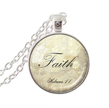 Bible quote pendant necklace Faith Necklace Hebrews 11 Bible Jewelry Scripture Jewelry Christian Gift  long statement necklaces