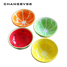 4 pcs/lot Ceramic Bowl,Beautiful Fruits Print Food Container,Salad Bowl,Baby Love Cute Cups,Fruit Bowl Dishes,Kitchen Bowls Rice(China)