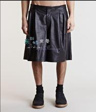 27-44  Men's New PU leather skirt singer Stage catwalk trousers fold casual wide legs trousers fashion tide plus size Culottes