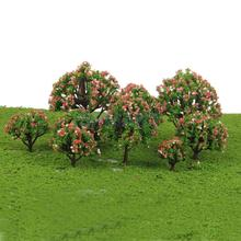 Plastic Peach Trees Model Train Railroad Scenery Scale 1:75 - 1:500 10pcs