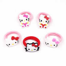 1Pcs Cute Cartoon Girls Hello Kitty Horse Elastic Hair Bands Kids Princess Hair rope Rubber Hairbands Children Hiar Accessories(China)