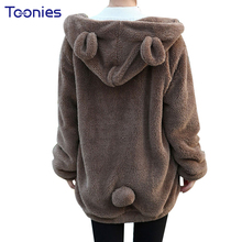 Women Winter Plush Sweatshirt Oversized Hoodie Thick Casual Loose Cute Hooded With Bear Ears Pockets Zip-up Autumn Girl Hoodies(China)