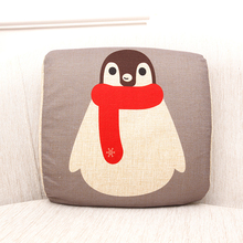 Cartoon Animal Print Linen Cushion Memory Foam Lumbar Pillow Back Support Cushion Pillow for Home Sofa Car Auto Seat YD-1(China)