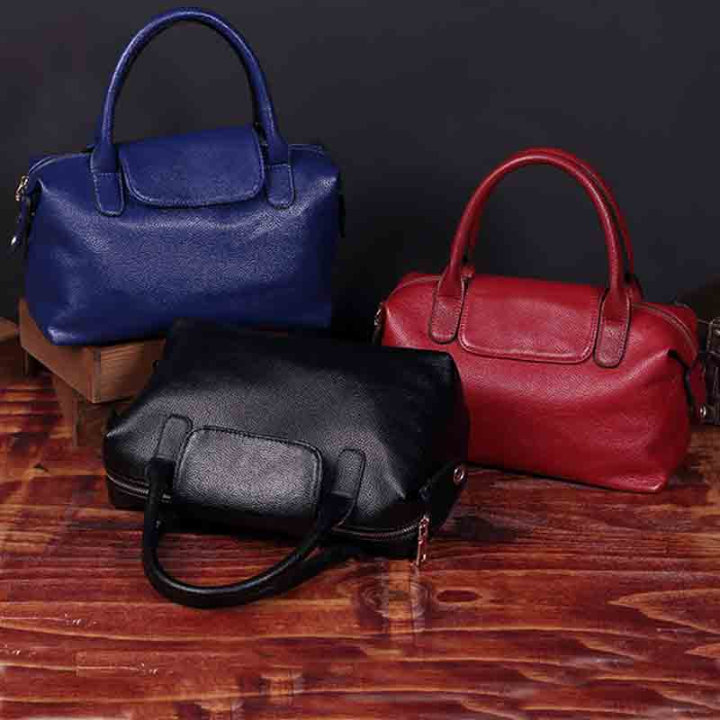 Genuine Leather Women Bag High Quality Famous Brand Designer Ladys Boston Handbags bolsa feminina 2017 Black Blue Red <br>