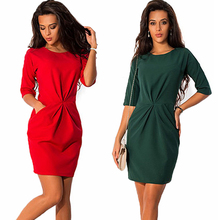 New 2017 Summer Women dress O-neck Half Sleeved Slim Dress Bodycon Fashion Red Blue Party Mini Dress plus size Vestidos