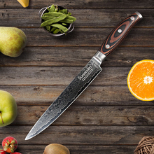 "SUNNECKO 8"" Slicing Damascus Steel Kitchen Knives Razor Sharp Japanese VG10 Blade Knife Wood Handle Cleaver Sashimi Meat Cutter(China)"