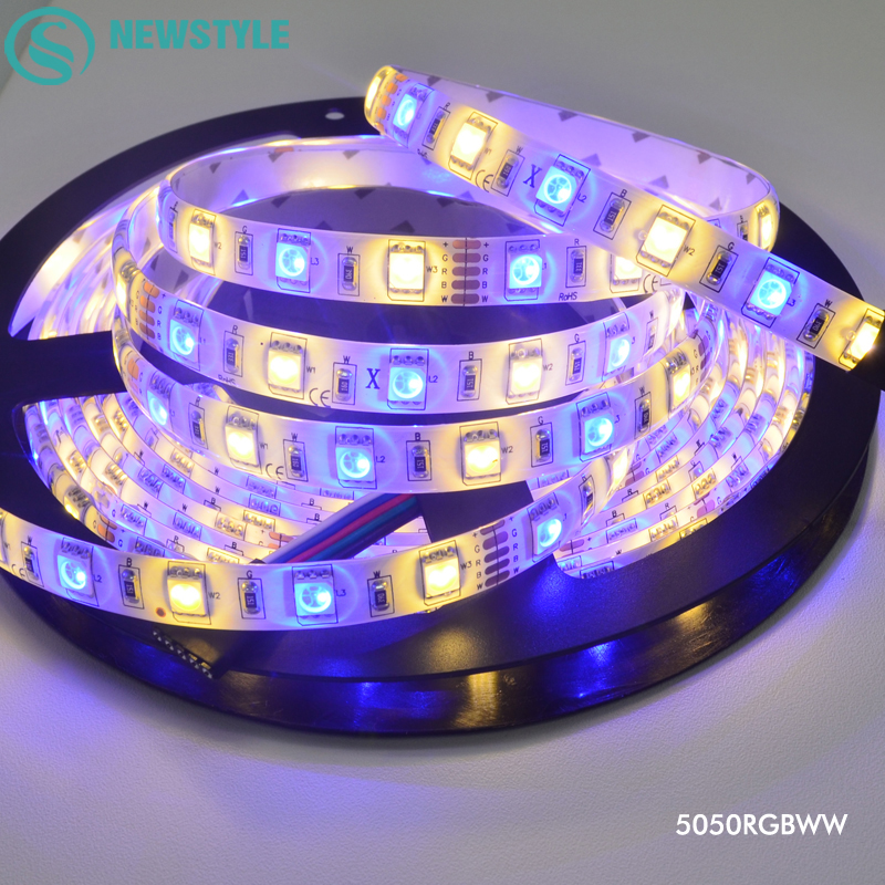 5M SMD 5050 LED Strip Light RGBW RGBWW DC12V Waterproof IP65/IP20 60Leds/M 300 LEDS Flexible Tape Indoor decoration