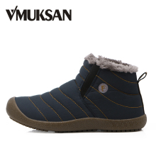VMUKSAN Brand New Warm 겨울 Shoes Men Plus Size 38-48 방수 망 Boots 2018 Designer 발목 눈 비가왔으믄 져 & # 겨울 Boots Men(China)