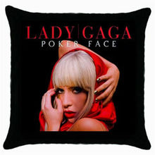 Hot Lady Gaga Throw Pillow Case Lady Gaga Poker Face Cushion Cover Black Decorative Pillows Cases Sham Gifts Car Home Decor 18""