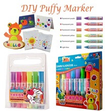 simbalion fabric puffy marker on paper clothes use hairdryer to puff glass markers for parent-child co-working paint dimensional