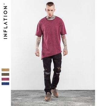 INFLATION 2017 Collection D'été De Mode D'été Hip Hop T-shirt Étendu Trou Vêtements Butin T-shirt Homme Chemises High Street Tee