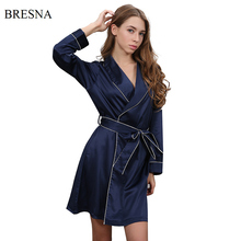 BRESNA Faux Silk Long Sleeve Shawl Collar Cardigan Robes Women Bathrobe Home Sleepwear Nigh Wear Negligees 2017 Autumn Winter(China)