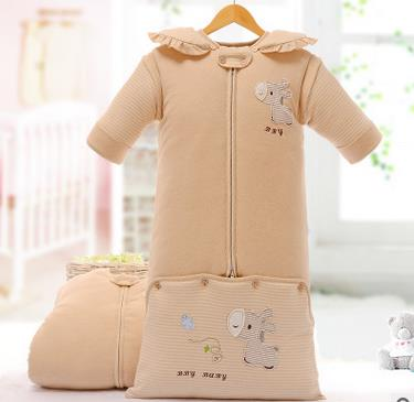 Infant baby sleeping bag baby blankets quilt thick natural cotton sleeping bag detachable sleeves newborn swaddling clothes<br>