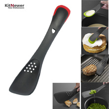 Cooking Tools Turner Spatula With Serrated Divider Skimmer Slotted Spoon Scoop Cake Cream Butter Spatula Mixing Batter Scraper(China)