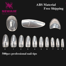 500pcs False Nails Oval French Fake Nail Short Clear Half Cover Nail Decorated ABS Beauty Nail Tips Manicure Accessories