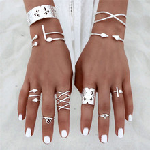 Best Price 6pcs/Set Women Bohemian Vintage Silver Stack Rings Above Knuckle Blue Rings Set