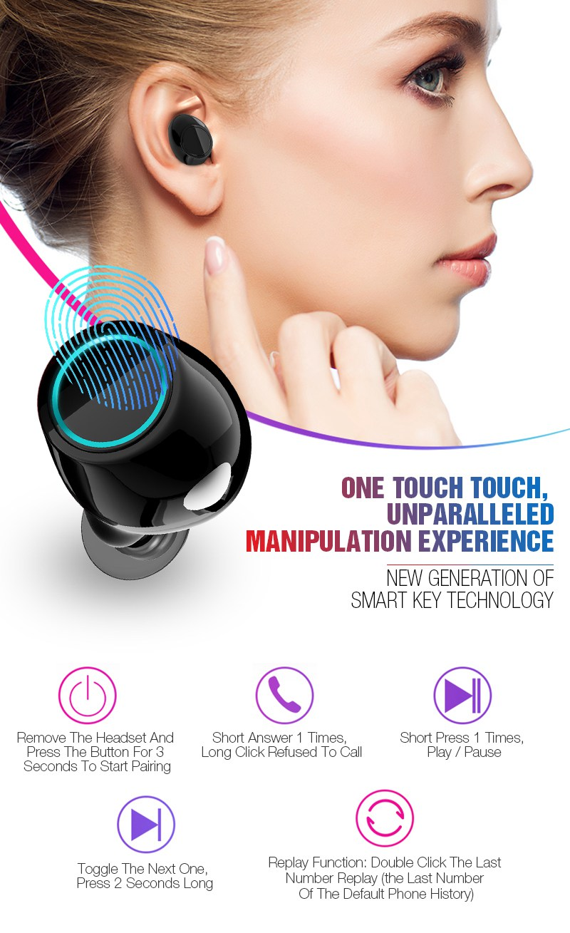 Bluetooth Earphone TWS Earbuds Wireless Bluetooth Earphones Stereo V4.2 Bluetooth Earphone With HD Mic and Charge Box