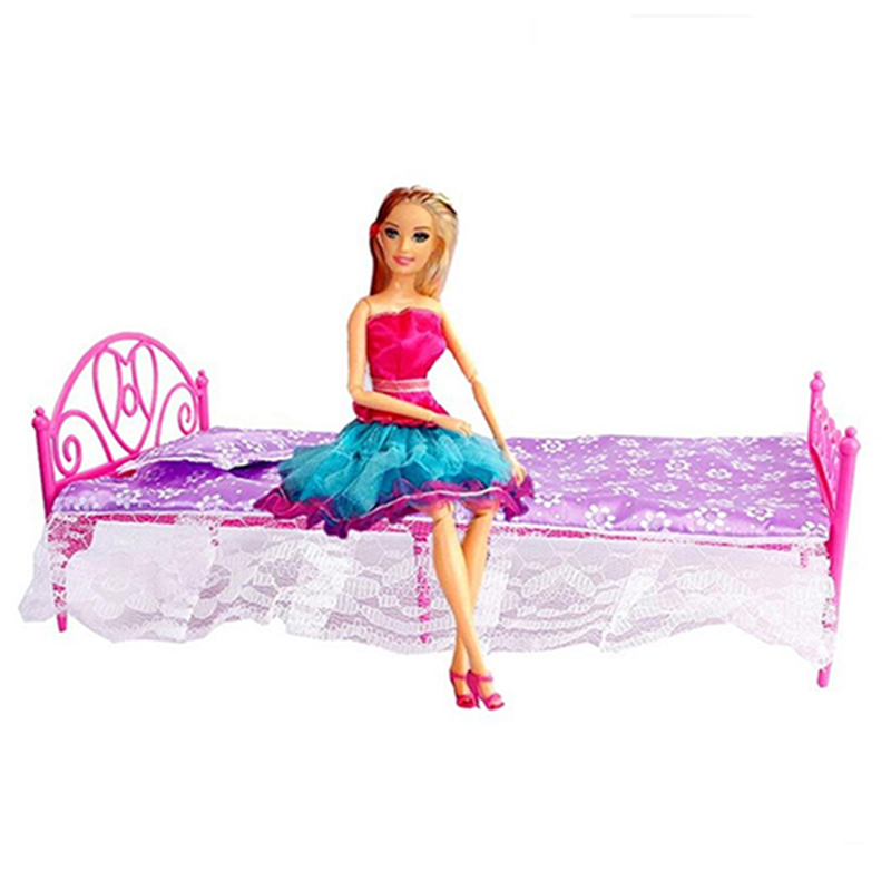 Bluelans-Plastic-Miniatures-Bedroom-Furniture-Single-Bed-for--Dolls-Dollhouse (3)