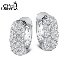 Effie Queen Luxury 29 Pieces Zircon Pave Setting Stud Earrings Popular Hollow Design Wedding Woman Silver Color Earrings DDE22(China)