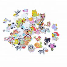 Free shipping 50pcs Mixed 2 Holes Decorative Buttons Lovely cartoon Animals Wood Buttons Sewing Scrapbooking F1669(China)