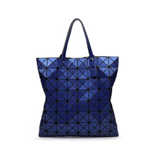 Hot! Popular Women Geometric Bag Unique Sequins Diamond Lattice Tote Female Handbag Luminous PU Leather Bag For Party Shopping