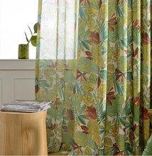 Rainforest Polyester Cotton Curtains for Kitchen Pastoral Style Window Treatments Floral Print Living Room Curtains(A315)