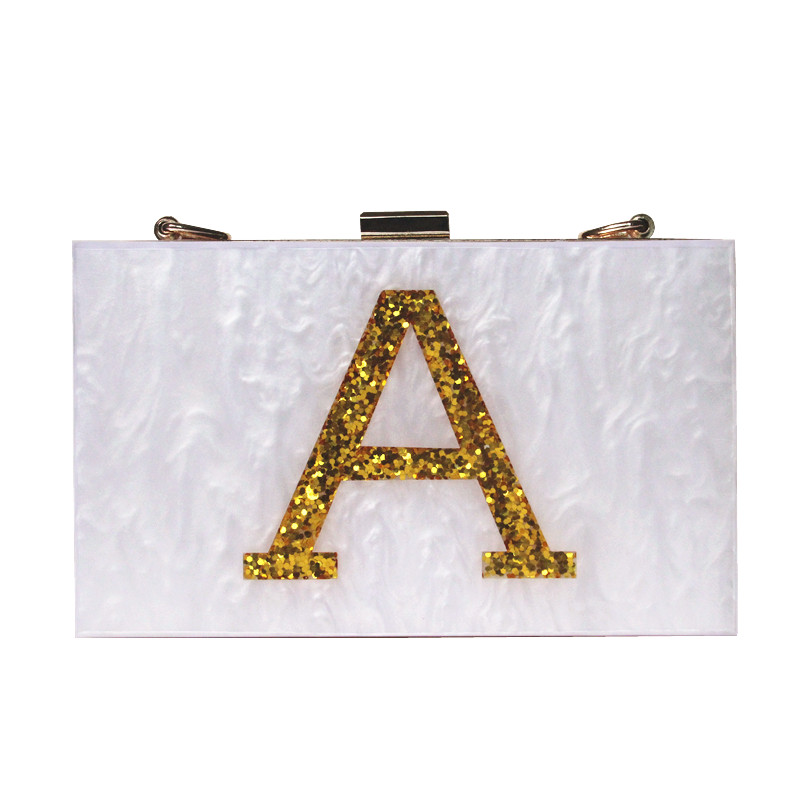 2016 new gold letters brand fashion evening bag magnetic white acrylic Shoulder Bag cute Handbag party cross print casual clutch<br><br>Aliexpress