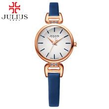 Women simple fashion casual classic quartz leather watch girl good luxury brand beautiful look pretty time Original JULIUS 925