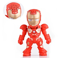 Portable Mini Speaker C-89 Iron Man Bluetooth Speaker with LED Flash Light Arm Robot Wireless Subwoofers TF FM USB Card(China)