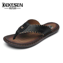 DEKESEN Brand New Arrival Slippers High Quality Handmade Cow Genuine Leather Summer Shoes Fashion Men Beach Sandals Flip Flops(China)