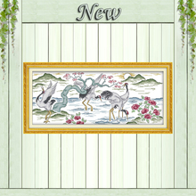 Longevity crane mountains and waters sun Decor Counted Print on canvas Sets embroidery Needlework DMC 11CT 14CT Cross Stitch kit