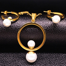 2017 New Fashion Stainless Steel Jewelry Sets Women Silver Color Imitation pearl jewelery Sets conjunto de joyas S176136(China)