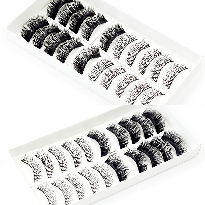 LCBOX 10 Pairs/set Makeup False Eyelashes Human Hair Black Nautral Handmade Eye Lashes Extension beauty kit