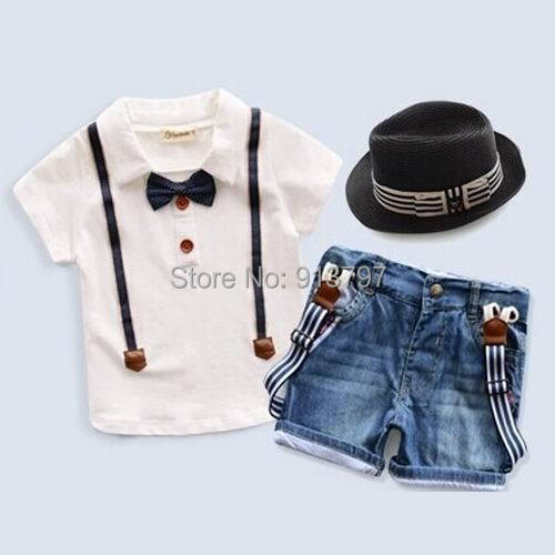 Retail 2015 Summer New Boy Gentlemen Sets Bow Tie Short Sleeve T-shirts Denim Suspender Shorts 1-7T 17990<br><br>Aliexpress