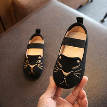 2017 Spring Autumn Breathable Children's Footwear Embroidery Cartoon Baby Girls Black Shoes for Party Soft Dress Flats for Kids