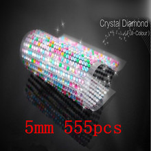 5mm 555pcs/set Full-color Rhinestone Laptop Skins Personalized Crystal Stickers Self Adhesive Decal Decor Beauty Phone Sticker