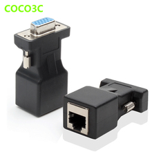 15pin VGA Female to RJ-45 Female Connector Card VGA RGB HDB Extender to LAN CAT5 CAT6 RJ45 Network Ethernet Cable Adapter