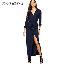 Buy DOMODA Apparel Navy Blue Chic Shirt Dress Women Clothing Casual Elegant Tie Waist Female Vestido Single Breasted Vintage Dress for $17.39 in AliExpress store